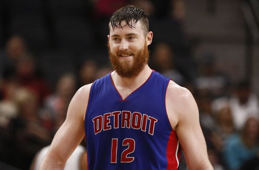 Mar 2, 2016; San Antonio, TX, USA; Detroit Pistons center Aron Baynes (12) reacts after being called for an offensive foul against the San Antonio Spurs during the first half at AT&T Center. Mandatory Credit: Soobum Im-USA TODAY Sports