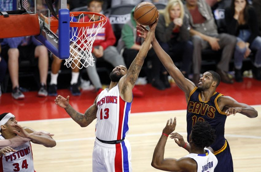 Apr 24, 2016; Auburn Hills, MI, USA; Detroit Pistons forward Marcus Morris (13) and Cleveland Cavaliers center Tristan Thompson (13) fight for a rebound during the fourth quarter in game four of the first round of the NBA Playoffs at The Palace of Auburn Hills. Cavs win 100-98. Mandatory Credit: Raj Mehta-USA TODAY Sports