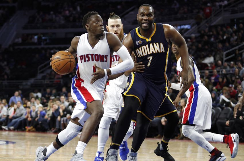 Dec 17, 2016; Auburn Hills, MI, USA; Detroit Pistons guard Reggie Jackson (1) drives to the basket against Indiana Pacers center Al Jefferson (7) during the fourth quarter at The Palace of Auburn Hills. Pacers win 105-90. Mandatory Credit: Raj Mehta-USA TODAY Sports