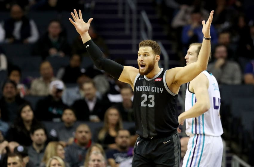 CHARLOTTE, NC - DECEMBER 12: Blake Griffin #23 of the Detroit Pistons reacts against the Charlotte Hornets . (Photo by Streeter Lecka/Getty Images)