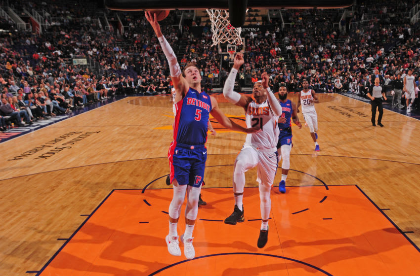 Detroit Pistons Luke Kennard scores against the Phoenix Suns, who are engaged in trade talks for him. (Photo by Barry Gossage/NBAE via Getty Images)