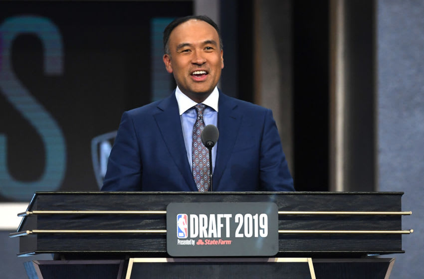 NEW YORK, NEW YORK - JUNE 20: NBA Deputy Commissioner Mark Tatum speaks during the second round of the 2019 NBA Draft at the Barclays Center on June 20, 2019 in the Brooklyn borough of New York City. NOTE TO USER: User expressly acknowledges and agrees that, by downloading and or using this photograph, User is consenting to the terms and conditions of the Getty Images License Agreement. (Photo by Sarah Stier/Getty Images)