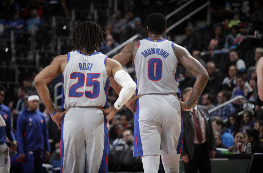 DETROIT, MI - NOVEMBER 25: Derrick Rose #25, and Andre Drummond #0 of the Detroit Pistons walk on the court against the Orlando Magic on November 25, 2019 at Little Caesars Arena in Detroit, Michigan. NOTE TO USER: User expressly acknowledges and agrees that, by downloading and/or using this photograph, User is consenting to the terms and conditions of the Getty Images License Agreement. Mandatory Copyright Notice: Copyright 2019 NBAE (Photo by Brian Sevald/NBAE via Getty Images)