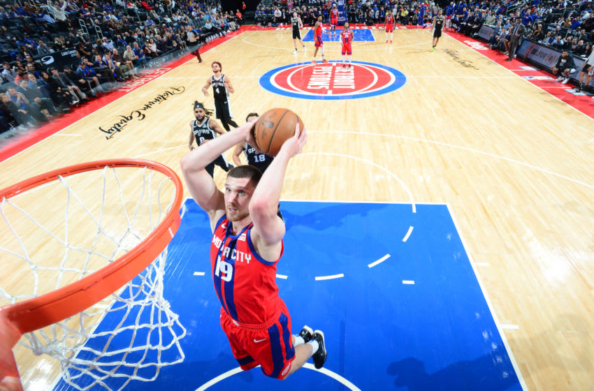 DETROIT, MI - DECEMBER 1: Sviatoslav Mykhailiuk #19 of the Detroit Pistons dunks the ball against the San Antonio Spurs on December 1, 2019 at Little Caesars Arena in Detroit, Michigan. NOTE TO USER: User expressly acknowledges and agrees that, by downloading and/or using this photograph, User is consenting to the terms and conditions of the Getty Images License Agreement. Mandatory Copyright Notice: Copyright 2019 NBAE (Photo by Chris Schwegler/NBAE via Getty Images)