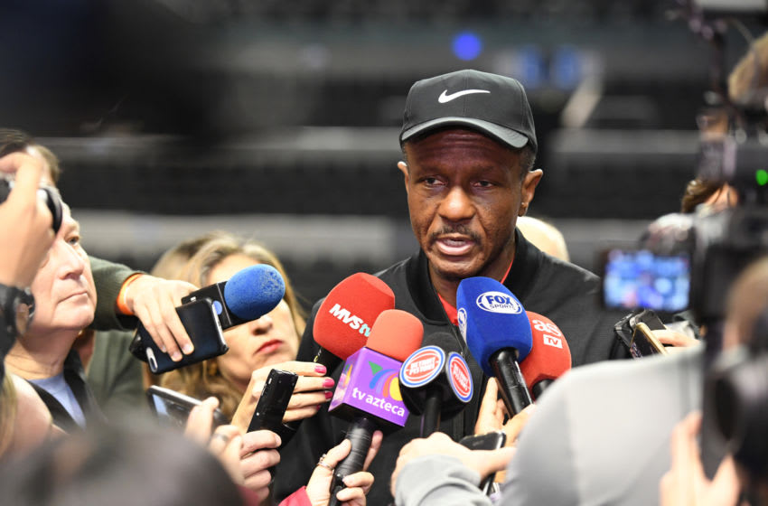 MEXICO CITY, MEXICO - DECEMBER 11: Head Coach Dwane Casey of the Detroit Pistons speaks to the media during media availability as part of the NBA Mexico Games 2019 on December 11, 2019 at the Mexico City Arena in Mexico City, Mexico. NOTE TO USER: User expressly acknowledges and agrees that, by downloading and/or using this photograph, user is consenting to the terms and conditions of the Getty Images License Agreement. Mandatory Copyright Notice: Copyright 2019 NBAE (Photo by Andrew D. Bernstein/NBAE via Getty Images)