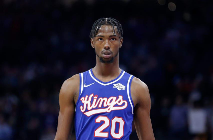 SACRAMENTO, CALIFORNIA - NOVEMBER 12: Harry Giles III #20 of the Sacramento Kings looks on in the second half against the Portland Trail Blazers at Golden 1 Center on November 12, 2019 in Sacramento, California. (Photo by Lachlan Cunningham/Getty Images)