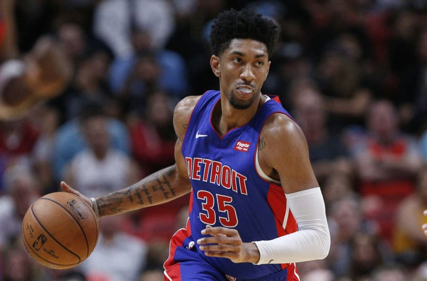 MIAMI, FLORIDA - NOVEMBER 12: Christian Wood #35 of the Detroit Pistons in action against the Miami Heat during the first half at American Airlines Arena on November 12, 2019 in Miami, Florida. NOTE TO USER: User expressly acknowledges and agrees that, by downloading and/or using this photograph, user is consenting to the terms and conditions of the Getty Images License Agreement. (Photo by Michael Reaves/Getty Images)