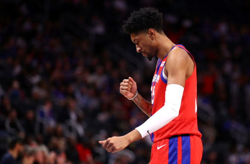 DETROIT, MICHIGAN - DECEMBER 01: Christian Wood #35 of the Detroit Pistons reacts to his second half three point basket while playing the San Antonio Spurs at Little Caesars Arena on December 01, 2019 in Detroit, Michigan. Detroit won the game 132-98. NOTE TO USER: User expressly acknowledges and agrees that, by downloading and or using this photograph, User is consenting to the terms and conditions of the Getty Images License Agreement. (Photo by Gregory Shamus/Getty Images)