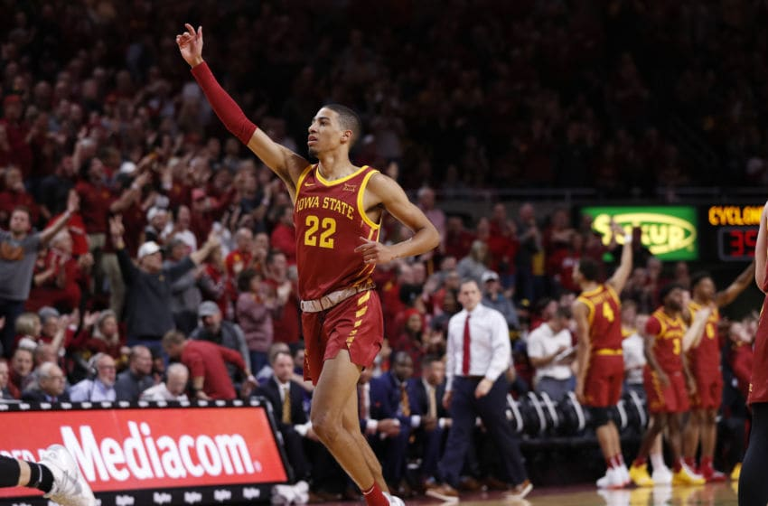 AMES, IA - DECEMBER 12: Tyrese Haliburton #22 of the Iowa State Cyclones runs down court in the second half of play against the Iowa Hawkeyes at Hilton Coliseum on December 12, 2019 in Ames, Iowa. The Iowa Hawkeyes won 84-68 over the Iowa State Cyclones. (Photo by David Purdy/Getty Images)