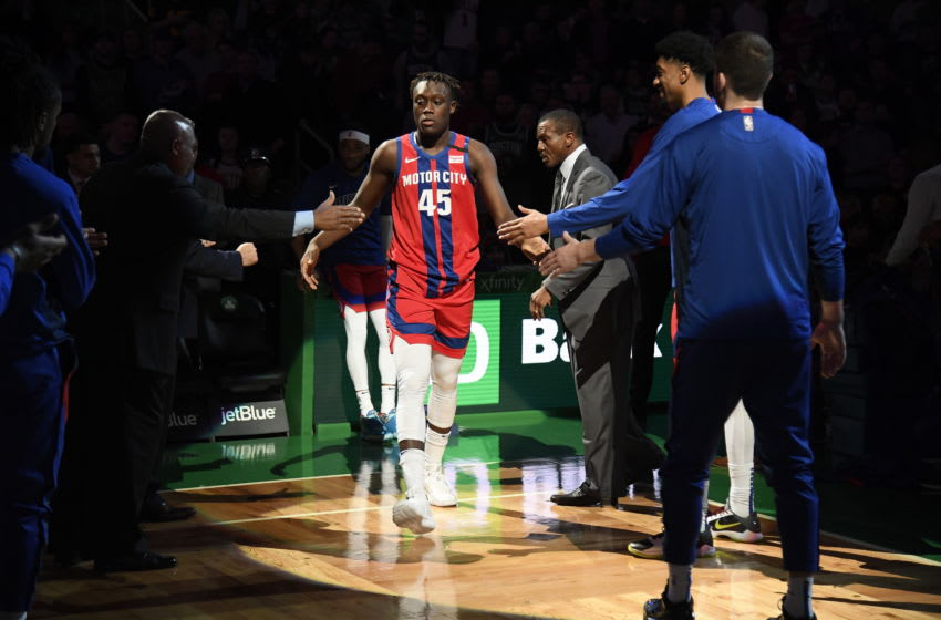 Detroit Pistons Sekou Doumbouya. (Photo by Brian Babineau/NBAE via Getty Images)