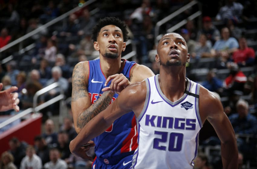 DETROIT, MI - JANUARY 22: Harry Giles III #20 of the Sacramento Kings and Christian Wood #35 of the Detroit Pistons on January 22, 2020 at Little Caesars Arena in Detroit, Michigan. NOTE TO USER: User expressly acknowledges and agrees that, by downloading and/or using this photograph, User is consenting to the terms and conditions of the Getty Images License Agreement. Mandatory Copyright Notice: Copyright 2020 NBAE (Photo by Brian Sevald/NBAE via Getty Images)