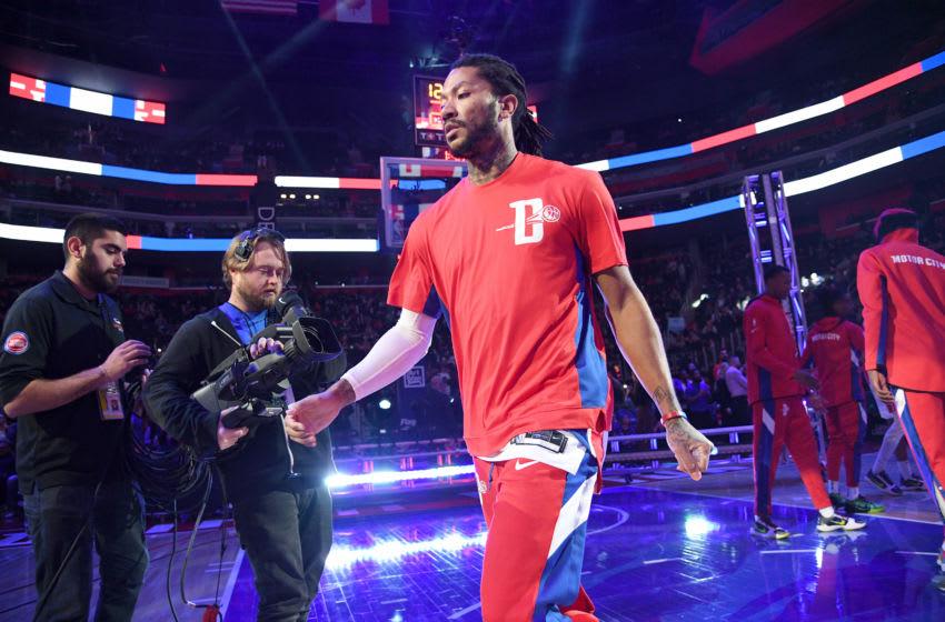 Detroit Pistons Derrick Rose. (Photo by Chris Schwegler/NBAE via Getty Images)
