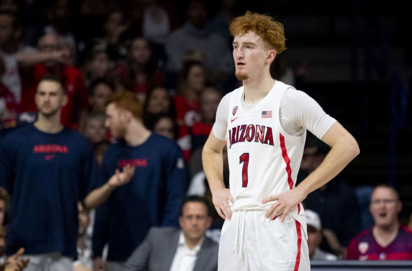 TUCSON, ARIZONA - DECEMBER 14: Nico Mannion #1 of the Arizona Wildcats reacts on the court in the first half against the Gonzaga Bulldogs at McKale Center on December 14, 2019 in Tucson, Arizona. The Gonzaga Bulldogs won 84 - 80. (Photo by Jennifer Stewart/Getty Images)