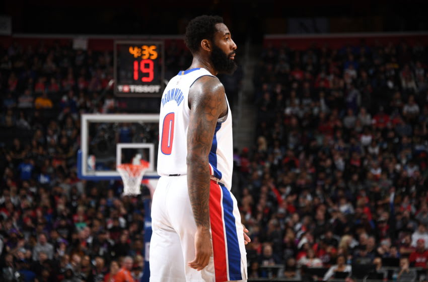 DETROIT, MI - JANUARY 31: Andre Drummond #0 of the Detroit Pistons looks on during the game against the Toronto Raptors on January 31, 2020 at Little Caesars Arena in Detroit, Michigan. NOTE TO USER: User expressly acknowledges and agrees that, by downloading and/or using this photograph, User is consenting to the terms and conditions of the Getty Images License Agreement. Mandatory Copyright Notice: Copyright 2020 NBAE (Photo by Chris Schwegler/NBAE via Getty Images)