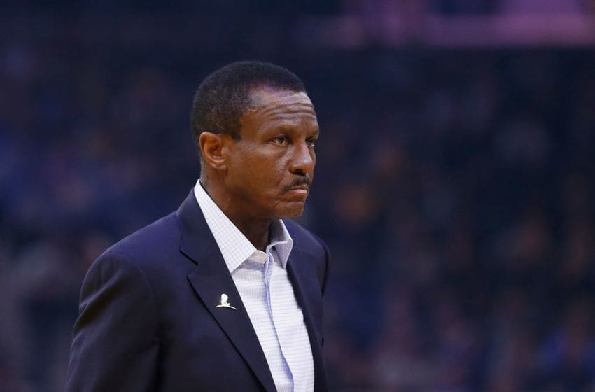 SAN FRANCISCO, CALIFORNIA - JANUARY 04: Dwane Casey head coach of the Detroit Pistons looks on in the first half against the Golden State Warriors at Chase Center on January 04, 2020 in San Francisco, California. NOTE TO USER: User expressly acknowledges and agrees that, by downloading and/or using this photograph, user is consenting to the terms and conditions of the Getty Images License Agreement. (Photo by Lachlan Cunningham/Getty Images)