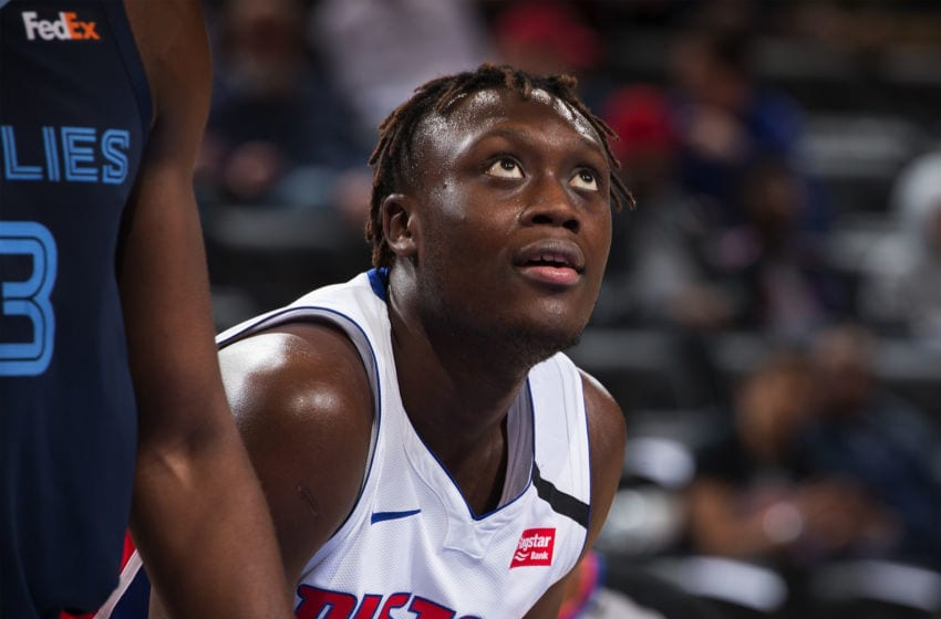 DETROIT, MI - JANUARY 24: Sekou Doumbouya #45 of the Detroit Pistons (Photo by Dave Reginek/Getty Images)