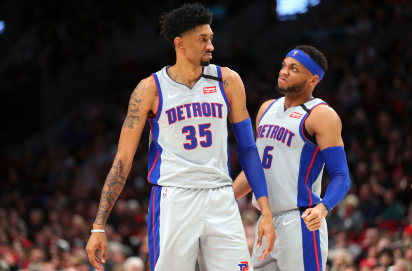 PORTLAND, OREGON - FEBRUARY 23: Christian Wood #35 and Bruce Brown #6 of the Detroit Pistons react in the third quarter against the Portland Trail Blazers during their game at Moda Center on February 23, 2020 in Portland, Oregon. NOTE TO USER: User expressly acknowledges and agrees that, by downloading and or using this photograph, User is consenting to the terms and conditions of the Getty Images License Agreement. (Photo by Abbie Parr/Getty Images)