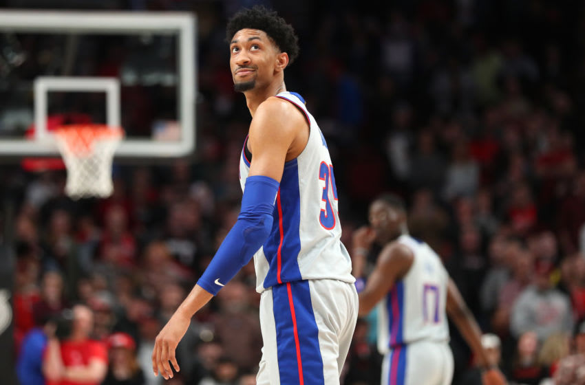 PORTLAND, OREGON - FEBRUARY 23: Christian Wood #35, then of the Detroit Pistons reacts in the fourth quarter against the Portland Trail Blazers. (Photo by Abbie Parr/Getty Images)