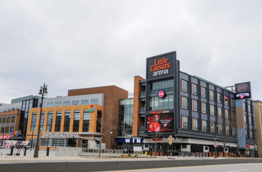 DETROIT, MI - MARCH 30: A closed Little Caesars Arena where the Detroit Pistons, Detroit Red Wings, and many concerts and other events were scheduled on March 30, 2020 in Detroit, Michigan. Both the NBA and NHL have suspended their seasons along with cancellations of many concerts and events after the World Health Organization declared the coronavirus (COVID-19) a global pandemic on March 11, 2020 in Various Cities, United States. (Photo by Aaron J. Thornton/Getty Images)
