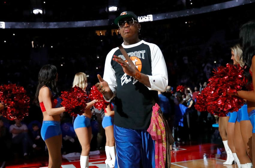 AUBURN HILLS, MI - APRIL 10: Former Detroit Piston Dennis Rodman take the floor for a halftime ceremony at the final NBA game at the Palace of Auburn Hills between the Detroit Pistons and Washington Wizards on April 10, 2017 in Auburn Hills, Michigan. NOTE TO USER: User expressly acknowledges and agrees that, by downloading and or using this photograph, User is consenting to the terms and conditions of the Getty Images License Agreement. (Photo by Gregory Shamus/Getty Images)