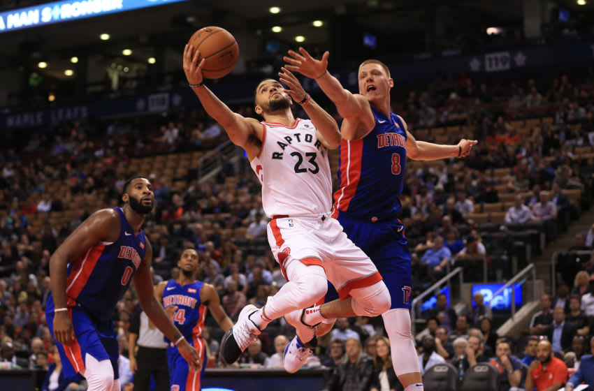 Fred VanVleet drives against the Detroit Pistons, who are interested in him in free agency. (Rene Johnston/Toronto Star via Getty Images)