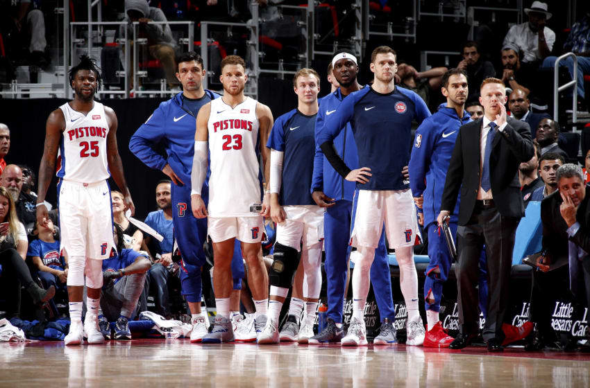 DETROIT, MI - OCTOBER 10: The Detroit Pistons looks on against the Washington Wizards during a pre-season game on October 10, 2018 at Little Caesars Arena in Detroit, Michigan. NOTE TO USER: User expressly acknowledges and agrees that, by downloading and/or using this photograph, User is consenting to the terms and conditions of the Getty Images License Agreement. Mandatory Copyright Notice: Copyright 2018 NBAE (Photo by Brian Sevald/NBAE via Getty Images)