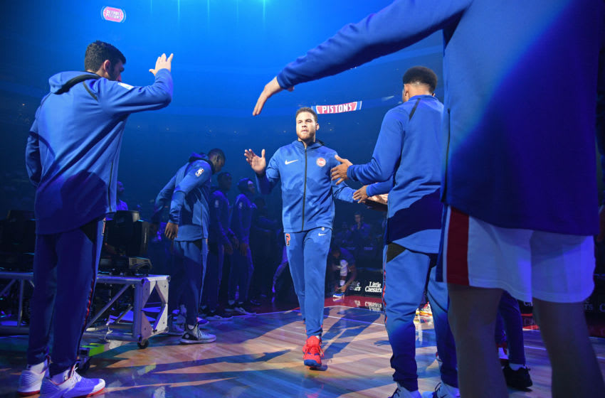 DETROIT, MI - OCTOBER 8: Blake Griffin #23 of the Detroit Pistons is introduced against the Brooklyn Nets during a pre-season game on October 8, 2018 at Little Caesars Arena in Detroit, Michigan. NOTE TO USER: User expressly acknowledges and agrees that, by downloading and/or using this photograph, User is consenting to the terms and conditions of the Getty Images License Agreement. Mandatory Copyright Notice: Copyright 2018 NBAE (Photo by Chris Schwegler/NBAE via Getty Images)