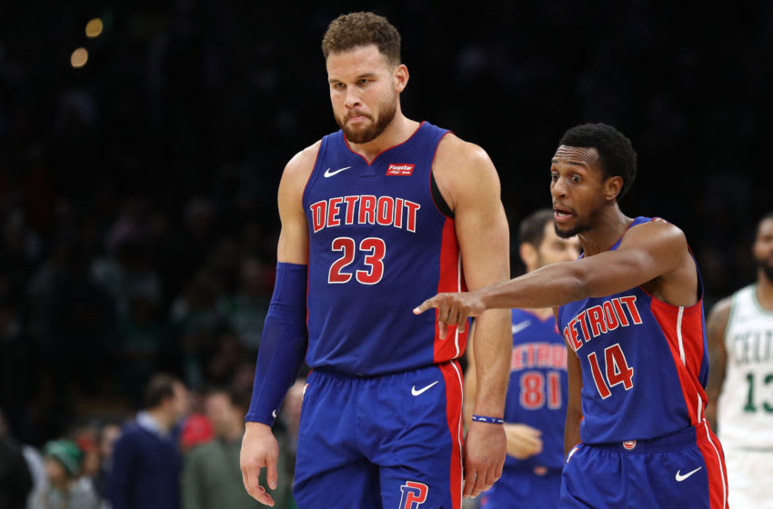 BOSTON, MA - OCTOBER 30: Blake Griffin #23 of the Detroit Pistons talks with Ish Smith #14 during the game against the Boston Celtics at TD Garden on October 30, 2018 in Boston, Massachusetts. The Celtics defeat the Pistons 108-105. (Photo by Maddie Meyer/Getty Images)