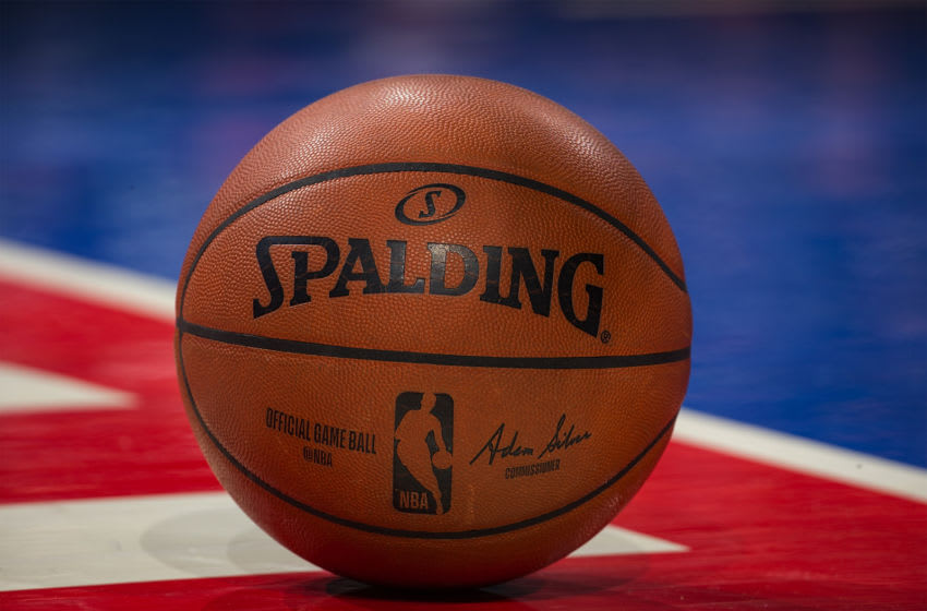 DETROIT, MI - JANUARY 24: An official Spaulding game ball sits on the court on a play stoppage in the in the first half of an NBA game between the Detroit Pistons and the Memphis Grizzlies at Little Caesars Arena on January 24, 2020 in Detroit, Michigan. NOTE TO USER: User expressly acknowledges and agrees that, by downloading and or using this photograph, User is consenting to the terms and conditions of the Getty Images License Agreement. Memphis defeated Detroit 125-112. (Photo by Dave Reginek/Getty Images)