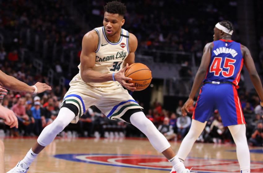 DETROIT, MICHIGAN - FEBRUARY 20: Giannis Antetokounmpo #34 of the Milwaukee Bucks plays against the Detroit Pistons (Photo by Gregory Shamus/Getty Images)