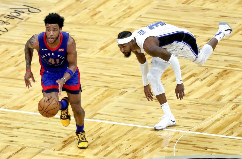 ORLANDO, FL - FEBRUARY 23: Saddiq Bey #41 of the Detroit Pistons (Photo by Alex Menendez/Getty Images)