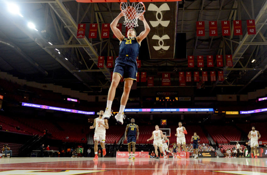 Franz Wagner #21 of the Michigan Wolverines could be a prospect for the Detroit Pistons (Photo by G Fiume/Maryland Terrapins/Getty Images)