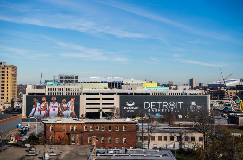 DETROIT, MI - NOVEMBER 22: A general view of the progress of Little Caesars Arena during a press conference to announce that the Detroit Pistons will move to downtown Detroit on November 22, 2016 at Cass Technical High School in Detroit, Michigan. NOTE TO USER: User expressly acknowledges and agrees that, by downloading and or using this photograph, User is consenting to the terms and conditions of the Getty Images License Agreement. Mandatory Copyright Notice: Copyright 2016 NBAE (Photo by Chris Schwegler/NBAE via Getty Images)