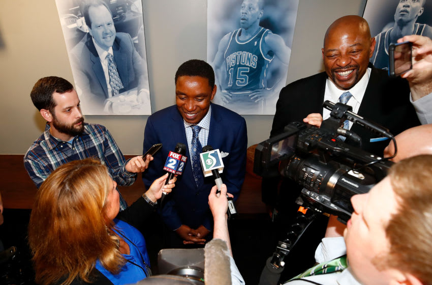 AUBURN HILLS, MI - APRIL 10: Former Detroit Piston Isiah Thomas is interviewed after a halftime ceremony at the final NBA game at the Palace of Auburn Hills between the Detroit Pistons and Washington Wizards on April 10, 2017 in Auburn Hills, Michigan. NOTE TO USER: User expressly acknowledges and agrees that, by downloading and or using this photograph, User is consenting to the terms and conditions of the Getty Images License Agreement. (Photo by Gregory Shamus/Getty Images)
