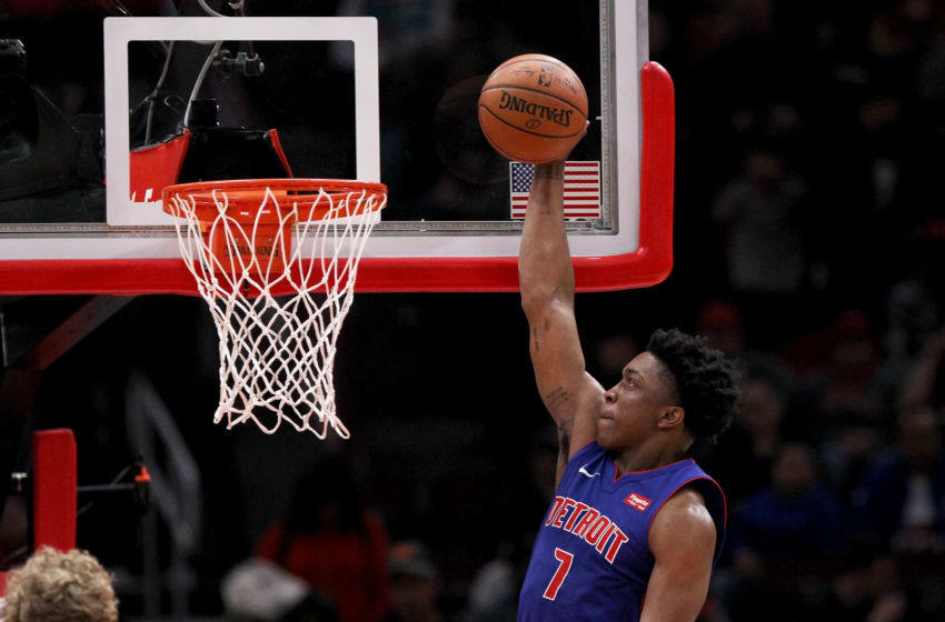 CHICAGO, IL - APRIL 11: Stanley Johnson #7 of the Detroit Pistons attempts a shot in the third quarter against the Chicago Bulls at the United Center on April 11, 2018 in Chicago, Illinois. NOTE TO USER: User expressly acknowledges and agrees that, by downloading and or using this photograph, User is consenting to the terms and conditions of the Getty Images License Agreement. (Dylan Buell/Getty Images)