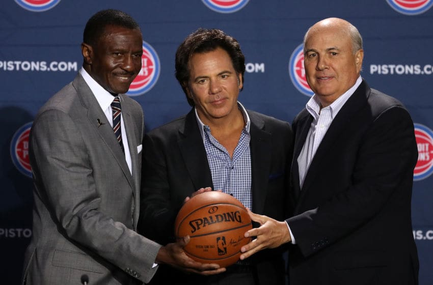 DETROIT, MI - JUNE 20: Dwane Casey (L) poses with Tom Gores (C) owner of the Detroit Pistons and Ed Stefanski (R) senior adviser at Little Caesars Arena on June 20, 2018 in Detroit, Michigan. NOTE TO USER: User expressly acknowledges and agrees that, by downloading and or using this photograph, User is consenting to the terms and conditions of the Getty Images License Agreement. (Photo by Gregory Shamus/Getty Images)