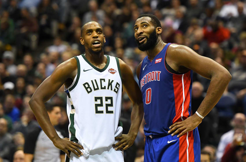 MILWAUKEE, WI - NOVEMBER 15: Khris Middleton and Andre Drummond of the Detroit Pistons (Photo by Stacy Revere/Getty Images)