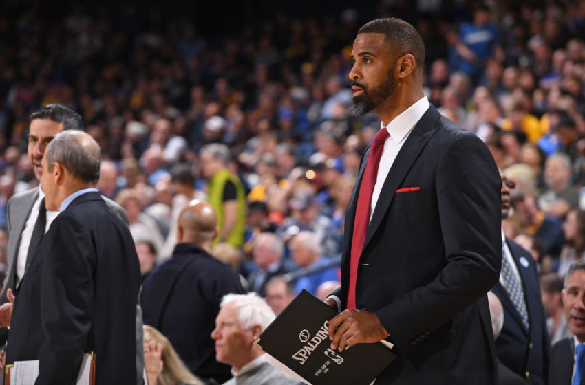 OAKLAND, CA - FEBRUARY 10: Ime Udoka looks on during the game against the Golden State Warriors on February 10, 2018 at Oracle Arena in Oakland, California. NOTE TO USER: User expressly acknowledges and agrees that, by downloading and or using this photograph, user is consenting to the terms and conditions of Getty Images License Agreement. Mandatory Copyright Notice: Copyright 2018 NBAE (Photo by Garrett Ellwood/NBAE via Getty Images)