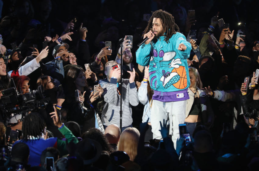 CHARLOTTE, NC - FEBRUARY 17: J. Cole performs at halftime during the 68th NBA All-Star Game at Spectrum Center on February 17, 2019 in Charlotte, North Carolina. (Photo by Jeff Hahne/Getty Images)