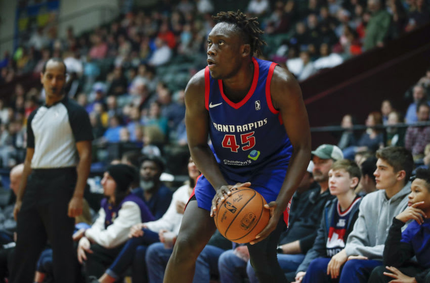 GRAND RAPIDS, MI - NOVEMBER 15: Sekou Doumbouya #45 of the Grand Rapids Drive looks to shoot against the Greensboro Swarm during the second half of an NBA G-League game on November 15, 2019 at DeltaPlex Arena in Grand Rapids, Michigan. NOTE TO USER: User expressly acknowledges and agrees that, by downloading and or using this photograph, User is consenting to the terms and conditions of the Getty Images License Agreement. Mandatory Copyright Notice: Copyright 2019 NBAE (Photo by Kamil Krzaczynski/NBAE via Getty Images)