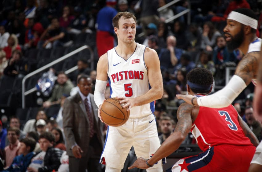 DETROIT, MI - DECEMBER 16: Luke Kennard #5 of the Detroit Pistons handles the ball during the game against the Washington Wizards on December 16, 2019 at Little Caesars Arena in Detroit, Michigan. NOTE TO USER: User expressly acknowledges and agrees that, by downloading and/or using this photograph, User is consenting to the terms and conditions of the Getty Images License Agreement. Mandatory Copyright Notice: Copyright 2019 NBAE (Photo by Brian Sevald/NBAE via Getty Images)