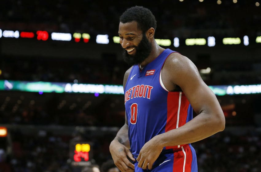 MIAMI, FLORIDA - NOVEMBER 12: Andre Drummond #0 of the Detroit Pistons laughs against the Miami Heat during the second half at American Airlines Arena on November 12, 2019 in Miami, Florida. NOTE TO USER: User expressly acknowledges and agrees that, by downloading and/or using this photograph, user is consenting to the terms and conditions of the Getty Images License Agreement. (Photo by Michael Reaves/Getty Images)