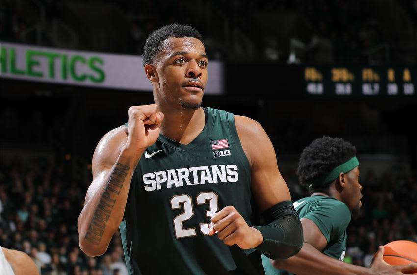 EAST LANSING, MI - FEBRUARY 04: Xavier Tillman #23 of the Michigan State Spartans during game action against the Penn State Nittany Lions at Breslin Center on February 4, 2020 in East Lansing, Michigan. (Photo by Rey Del Rio/Getty Images)