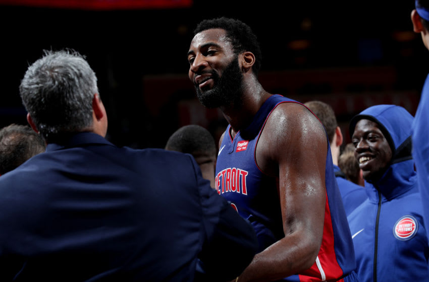 OKLAHOMA CITY, OK - OCTOBER 3: Andre Drummond #0 of the Detroit Pistons reacts against the Oklahoma City Thunder during a pre-season game on October 3, 2018 at Chesapeake Energy Arena in Oklahoma City, Oklahoma. NOTE TO USER: User expressly acknowledges and agrees that, by downloading and or using this photograph, User is consenting to the terms and conditions of the Getty Images License Agreement. Mandatory Copyright Notice: Copyright 2018 NBAE (Photo by Zach Beeker/NBAE via Getty Images)