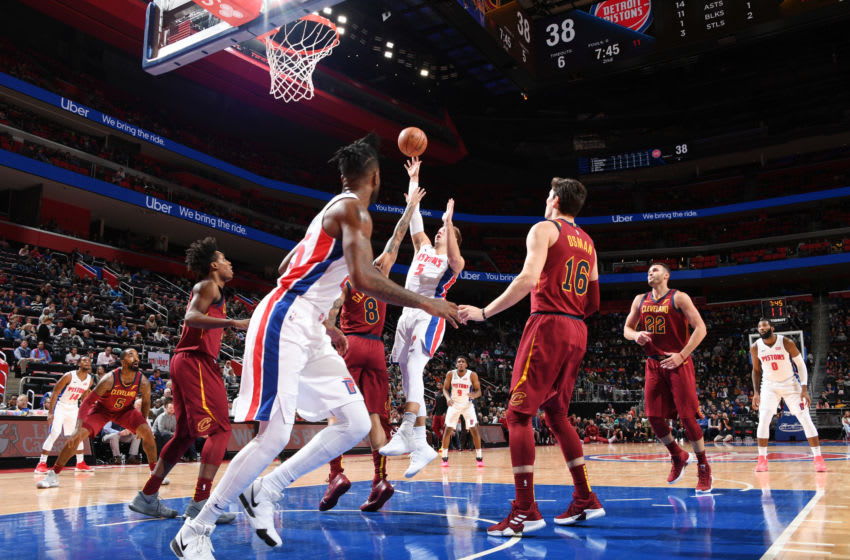 DETROIT, MI - OCTOBER 25: Luke Kennard #5 of the Detroit Pistons shoots the ball against the Cleveland Cavaliers on October 25, 2018 at Little Caesars Arena in Detroit, Michigan. NOTE TO USER: User expressly acknowledges and agrees that, by downloading and/or using this photograph, User is consenting to the terms and conditions of the Getty Images License Agreement. Mandatory Copyright Notice: Copyright 2018 NBAE (Photo by Chris Schwegler/NBAE via Getty Images)