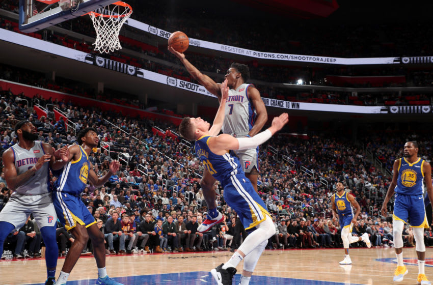 DETROIT, MI - DECEMBER 1: Stanley Johnson #7 of the Detroit Pistons goes to the basket against the Golden State Warriors on December 1, 2018 at Little Caesars Arena in Detroit, Michigan. NOTE TO USER: User expressly acknowledges and agrees that, by downloading and/or using this photograph, user is consenting to the terms and conditions of the Getty Images License Agreement. Mandatory Copyright Notice: Copyright 2018 NBAE (Photo by Joe Murphy/NBAE via Getty Images)