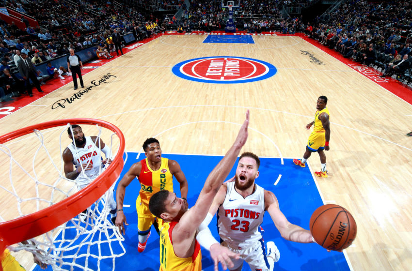 DETROIT, MI - DECEEMBER 17: Blake Griffin #23 of the Detroit Pistons shoots the ball against the Milwaukee Bucks on December 17, 2018 at Little Caesars Arena in Detroit, Michigan. NOTE TO USER: User expressly acknowledges and agrees that, by downloading and/or using this photograph, User is consenting to the terms and conditions of the Getty Images License Agreement. Mandatory Copyright Notice: Copyright 2018 NBAE (Photo by Brian Sevald/NBAE via Getty Images)