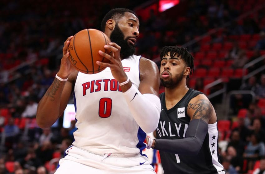 DETROIT, MI - FEBRUARY 07: Andre Drummond #0 of the Detroit Pistons tries to make a move around D'Angelo Russell #1 of the Brooklyn Nets during the first half at Little Caesars Arena on February 7, 2018 in Detroit, Michigan. NOTE TO USER: User expressly acknowledges and agrees that, by downloading and or using this photograph, User is consenting to the terms and conditions of the Getty Images License Agreement. (Photo by Gregory Shamus/Getty Images)