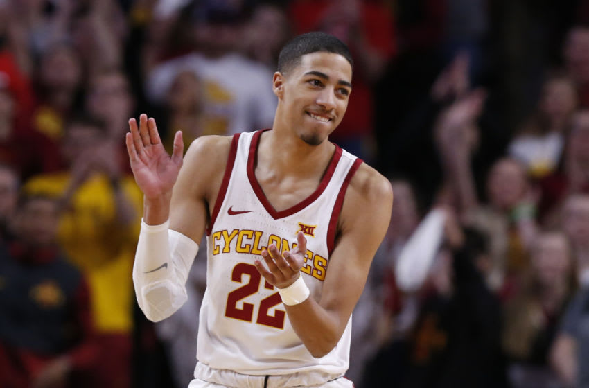 AMES, IA - MARCH 9: Tyrese Haliburton #22 of the Iowa State Cyclones celebrates at mid court in the first half of play at Hilton Coliseum on March 9, 2019 in Ames, Iowa. The Texas Tech Red Raiders won 80-73 over the Iowa State Cyclones. (Photo by David K Purdy/Getty Images)