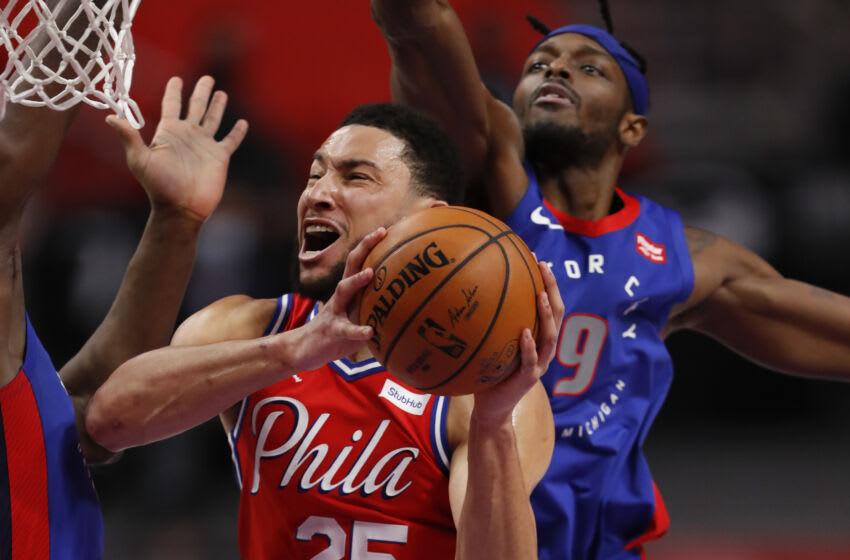 Philadelphia 76ers guard Ben Simmons (25) shoots against Detroit Pistons forward Jerami Grant Credit: Raj Mehta-USA TODAY Sports